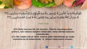 Nahl Suresi 22-23. ayet