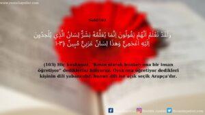 Nahl Suresi 103. Ayet